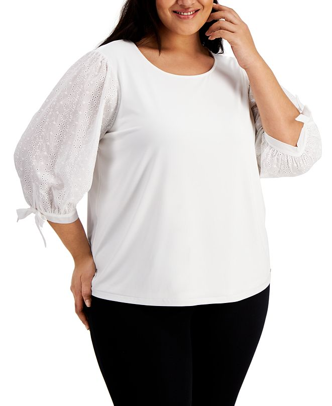Calvin Klein Plus Size Eyelet-Sleeve Top