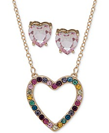 Gold-Tone 2-Pc. Set Crystal Rainbow Heart Pendant Necklace and Complementing Heart Stud Earrings
