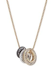 """Tri-Tone Pavé Circle Pendant Necklace, 16"""" + 3"""" extender"""