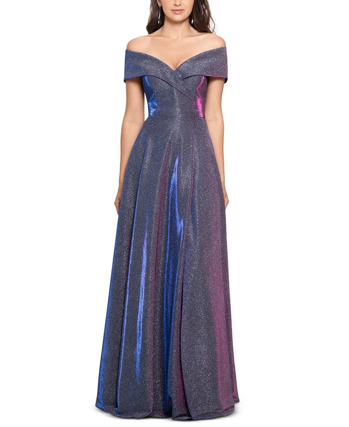XSCAPE - Off-The-Shoulder Shimmer Wrap Gown