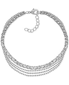 Multi-Row Crystal Ankle Bracelet in Fine Silver-Plate