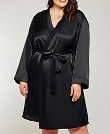 Plus Size Elegant Satin Wrap Robe, Online Only