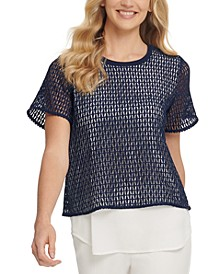 Short-Sleeve Mixed-Media Top