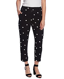 Petite Polka-Dot Pull-On Pants