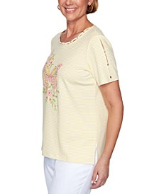 Petite Spring Lake Embroidered Butterfly Top