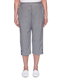 Petite Checkmate Gingham-Print Capri Pants