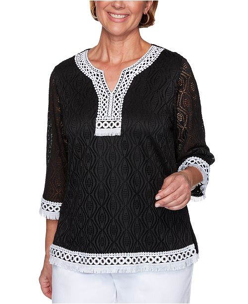 Alfred Dunner Petite Checkmate Textured Solid Lace Top