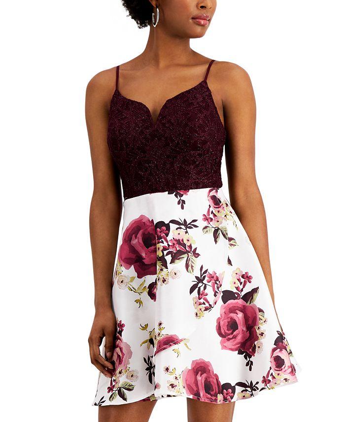 City Studios - Juniors' Lace & Floral-Print Fit & Flare Dress