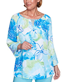 Alfred Dunner Petite Sea You There Printed Top