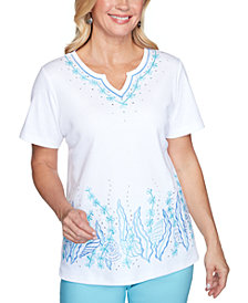 Alfred Dunner Petite Sea You There Embroidered Top