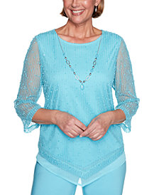 Alfred Dunner Petite Sea You There Popcorn Knit Necklace Top