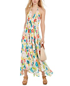 Floral Print Halter Maxi Dress Swimsuit Cover-Up