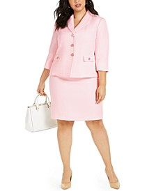Plus Size 3/4-Sleeve Skirt Suit