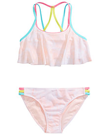Ideology Big Girls 2-Pc. Pastel Flounce Swimsuit, Created for Macy's