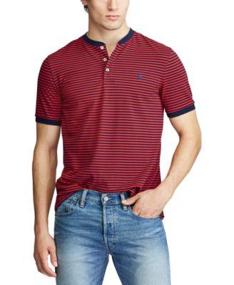 Red Polo Ralph Lauren Mens Cotton Jersey Henley Shirt Large