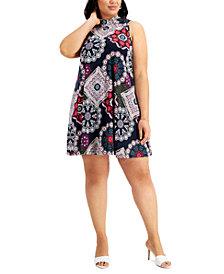 Robbie Bee Plus Size Medallion-Print Trapeze Dress