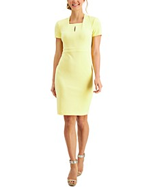 Petite Square-Neck Keyhole Sheath Dress