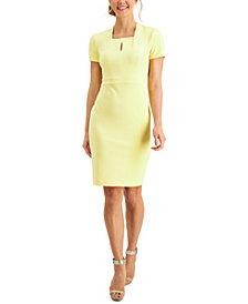 Calvin Klein Petite Square-Neck Keyhole Sheath Dress