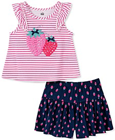 Little Girls 2-Pc. Strawberry Stripe Top & Printed Shorts Set