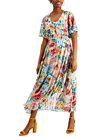 kensie Shadow-Striped Floral-Print Maxi Dress