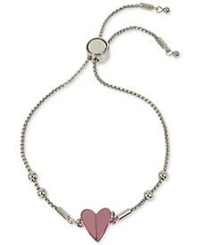 Two-Tone Folded Heart Slider Bracelet