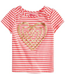 Little Girls Striped Heart Graphic Top, Created for Macy's