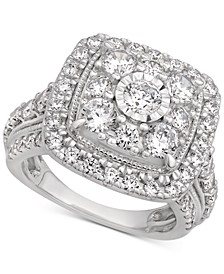 Certified Cluster Halo Engagement Ring (3 ct. t.w.) in 14k White Gold