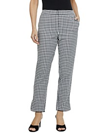 Gingham-Print High-Rise Pants