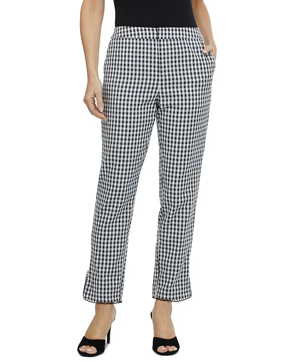 Laundry by Shelli Segal Gingham-Print High-Rise Pants