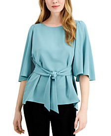 Tie-Front Flutter-Sleeve Top, Created for Macy's