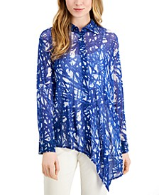 Printed Asymmetrical Blouse, Created for Macy's
