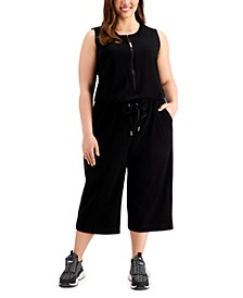 Plus Size Half-Zip French Terry Jumpsuit
