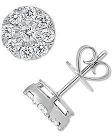 Diamond Halo Cluster Stud Earrings (7/8 ct. t.w.) in 14k White Gold