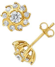 Diamond Sun Cluster Stud Earrings (7/8 ct. t.w.) in 10k Gold