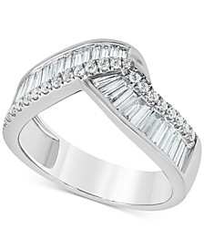 Diamond Baguette Statement Ring (1 ct. t.w.) in 14k White Gold