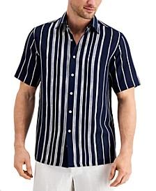 Men's Textured Engineered Stripe Shirt, Created for Macy's