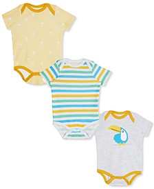 Baby Boys & Girls 3-Pk. Printed & Striped Cotton Bodysuits