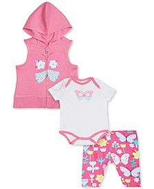 Baby Girls 3-Pc. Hooded Zip-Front Vest, Butterfly Bodysuit & Printed Capris