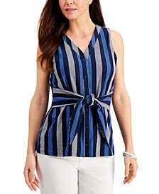 Striped Tie-Waist Top, Created for Macy's