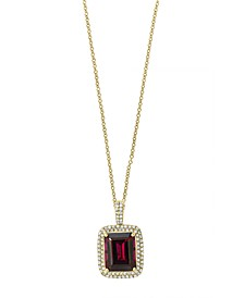 "EFFY® Rhodolite Garnet (3-7/8 ct. t.w.) & Diamond (1/3 ct. t.w.) 18"" Pendant Necklace in 14k Gold"