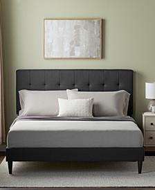 UpholsteredPlatformBed Frame withSquare TuftedHeadboard, Queen