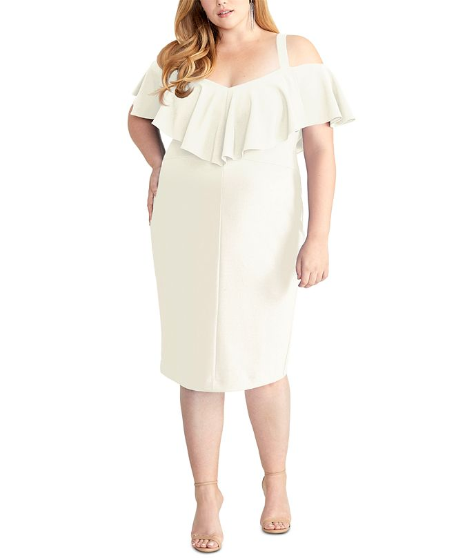 RACHEL Rachel Roy Trendy Plus Size Marcella Flounce Cold-Shoulder Dress