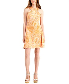 Paisley-Print Crossover-Neck Dress, Regular & Petite