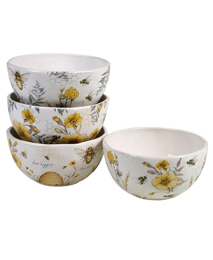 Certified International - Bee Sweet 4-Pc. Ice Cream Bowls asst.