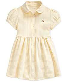 Baby Girls Striped Knit Oxford Dress