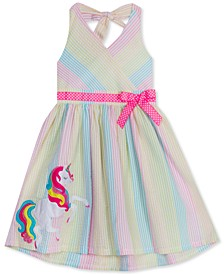 Toddler Girls Rainbow Seersucker Unicorn Dress