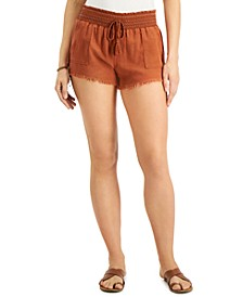 Juniors' Smocked Frayed-Hem Shorts