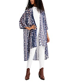 Juniors' Foil-Printed High-Low Kimono