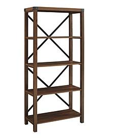 "64"" Farmhouse Metal Bookcase"