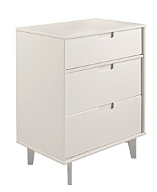3-Drawer Groove Handle Wood Dresser